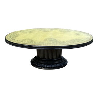 Vintage Hollywood Regency Green Leather Topped and Black Lacquer Oval Coffee Table For Sale