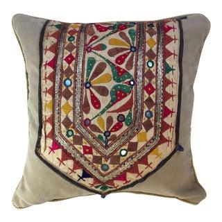 Folk Art Exotic Vintage Handwoven Pillow For Sale