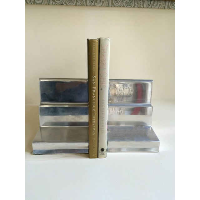 Polished Aluminium Bookends - Pair - Image 4 of 4