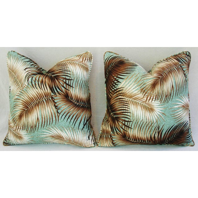 Mid-Century Palm Leaves Barkcloth Pillows - Pair - Image 5 of 9