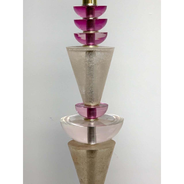 Modern Modern Van Teal Lucite Column Lamps -A Pair For Sale - Image 3 of 9