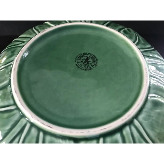 Ceramic 1980s Large Bordallo Pinheiro Majolica Green Cabbage Leaf Salad Bowl For Sale - Image 7 of 9