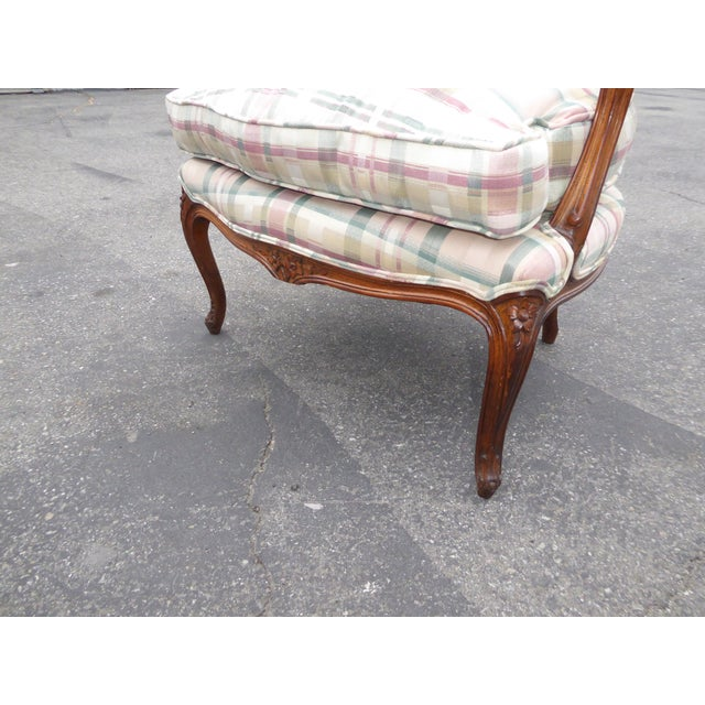 Vintage French Country Carved Wood & Plaid Arm Chair - Image 10 of 11