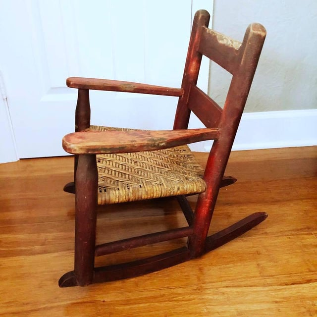 Red Antique Handmade Children's Red Rocking Chair With Wicker Seat For Sale - Image 8 of 9