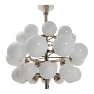1970s Chandelier With Handblown Opaline Glass Globes For Sale