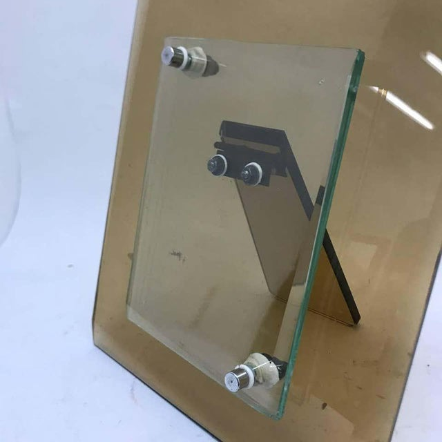 1970s Italian Vintage Cristal Art Heavy Glass Picture Frame For Sale - Image 9 of 10
