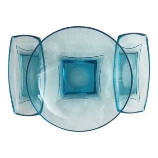 Mid-Century Aqua Glass Serving Bowls - Set of 3