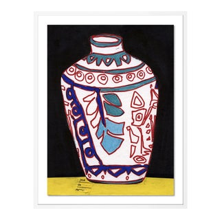 White Vase by Jelly Chen in White Framed Paper, Medium Art Print For Sale