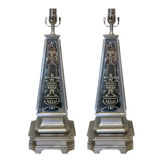 Silvered and Engraved Mirror Obelisk Lamps - a Pair For Sale