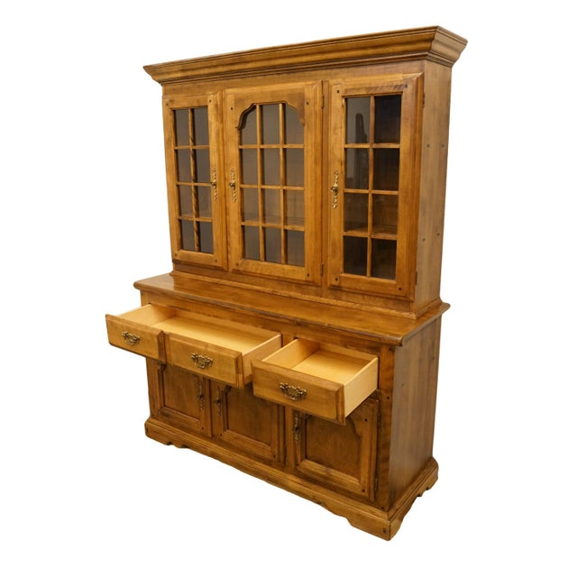 Glass 20th Century Early American Temple Stuart Rockingham Solid Maple Buffet With Display Hutch For Sale - Image 7 of 13