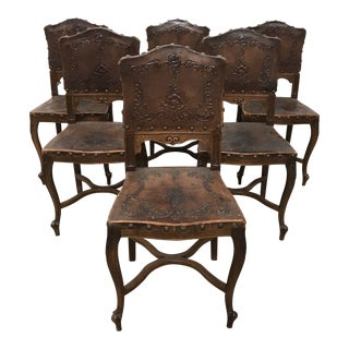 Antique Embossed Leather French Dining Chairs - Set of 6 For Sale