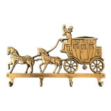 Image of Vintage English Brass Horse & Carriage Wall Hooks For Sale