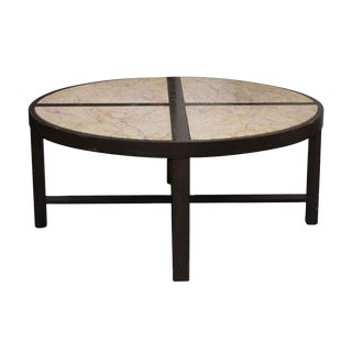 Mid-Century Marble Top Wood Coffee Table For Sale