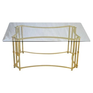 Brass Finish & Glass Coffee Table For Sale