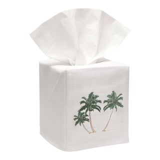 Three Palm Trees Tissue Box Cover in White Linen & Cotton, Embroidered For Sale