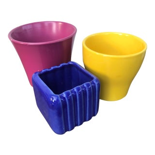 Vintage Colorful Planters- Set of 3 For Sale