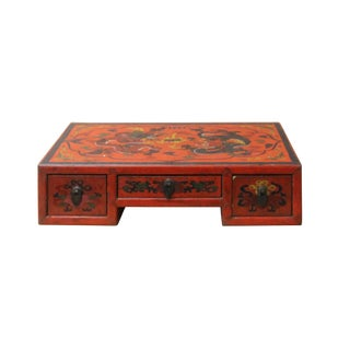 Chinese Red Lacquer Graphic Table Top Stand Display Easel For Sale
