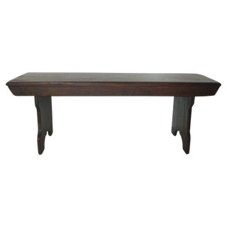 Vintage American Two Seat Brown Pine Wood Bench For Sale
