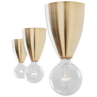 Valo Modern Handcrafted Brass Flush Mount Light For Sale
