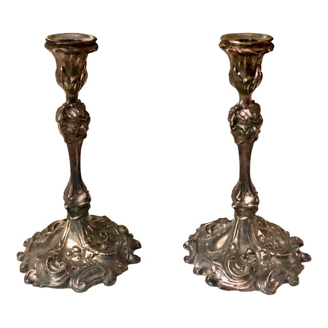 Circa 1880s French Rococo Silverplate Candle Holders- a Pair For Sale