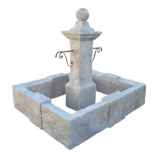 Carved Rectangular Limestone Center Fountain from Provence, France For Sale