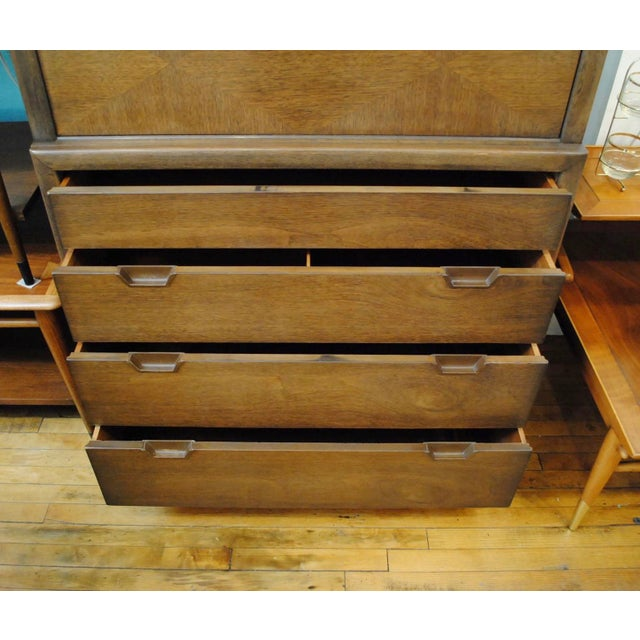 5 Drawer Tall Chest in Walnut with mahogany interiors. Dovetailed construction. In very good vintage condition. Made by...