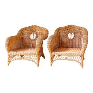 1990s Boho Chic Ralph Lauren Safari Wicker Lounge Chairs - a Pair