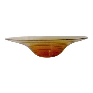 Vintage Caramel Fused Glass Centerpiece Bowl