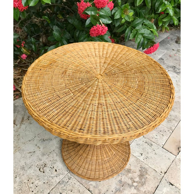 Vintage Wicker Rattan Dining Table For Sale - Image 4 of 13
