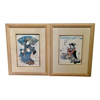 Japanese Prints Wood Block Prints - a Pair For Sale