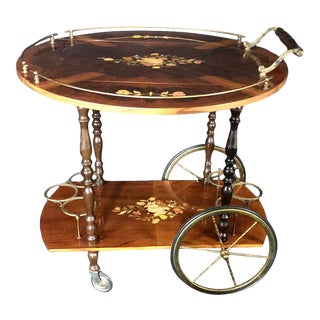 Italian Marquetry Lacquered Drop Leaf Walnut and Brass Bar Cart For Sale