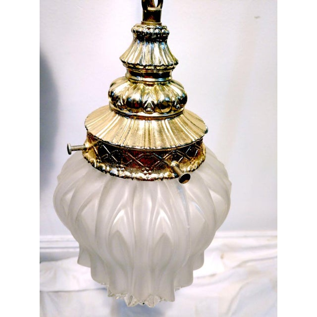 Vintage Frosted Diamond Cut Double Pendant Hanging Lamp - Image 6 of 8