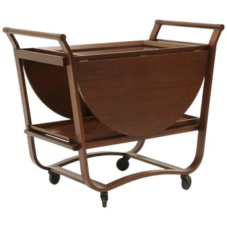 Serving or Bar Cart by Edward Wormley for Dunbar, Drop-Leaf With Removable Trays For Sale