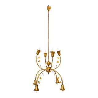 Mid-Century Italian Brass Chandelier For Sale