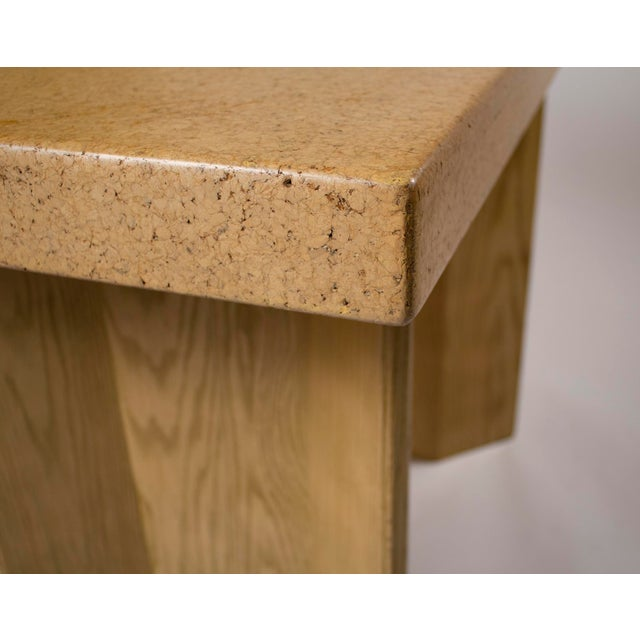Wood 1950s Paul Frankl Bleached Oak & Cork Console Table for Johnson Furniture For Sale - Image 7 of 11
