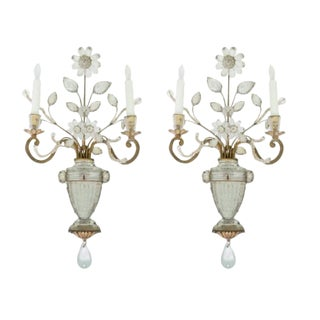 Maison Bagues Crystal and Gilt Iron Wall Sconces - a Pair For Sale