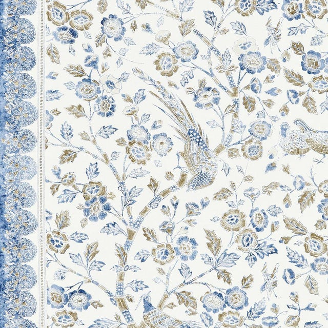 Transitional Scalamandre Anissa Print Fabric in Lakeside For Sale - Image 3 of 3