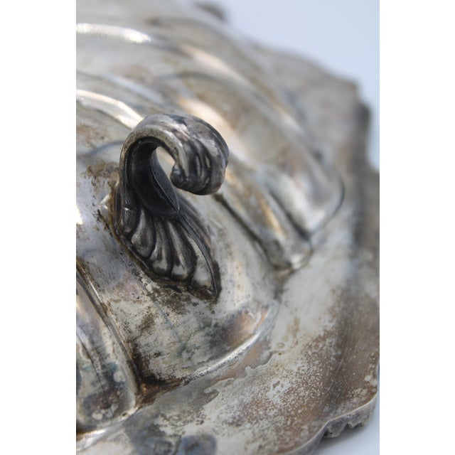 Large Silver Plate Footed Clam Shell Dish For Sale - Image 10 of 12