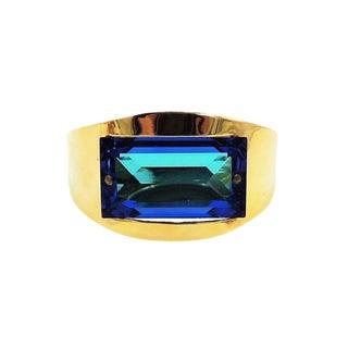 1970s Bijoux Cascio Italy Blue Rhinestone Cuff Bracelet For Sale