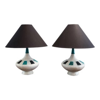 Mid-Century Incised Ceramic Table Lamps - a Pair