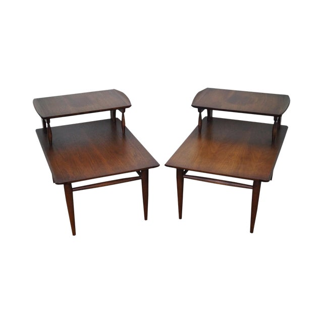 Bassett Mid Century Modern 2 Tier Step End Tables - a Pair For Sale