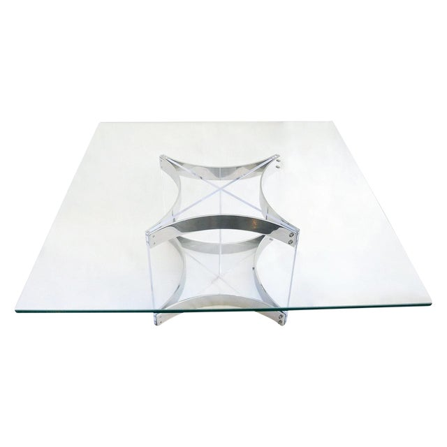 Excellent Modernist Lucite & Chrome Coffee Table By
