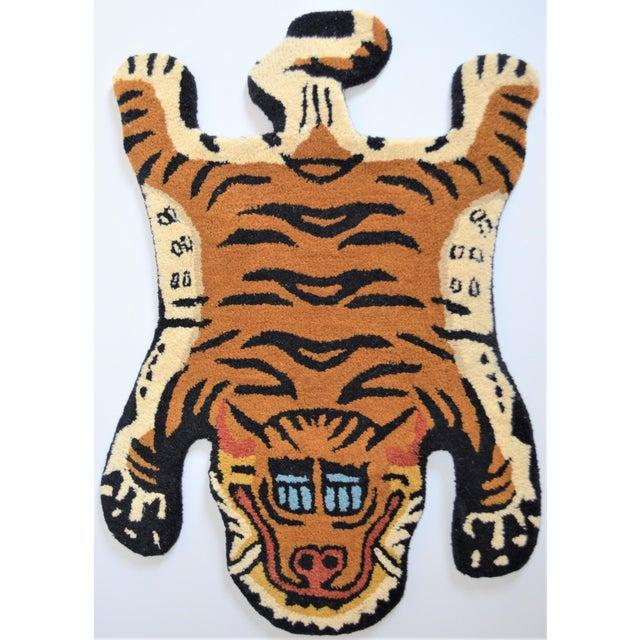 1990s Vintage Tibetan Tiger Hunting Shape Persian Rug- 2′ × 3′ For Sale - Image 4 of 6