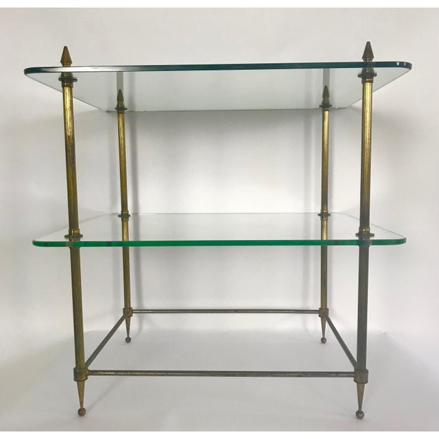 Art Deco Two-Tiered Glass and Brass Side Table For Sale - Image 3 of 11