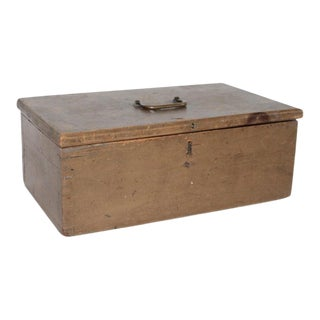 19th Century Original Painted Dovetailed Document Box For Sale