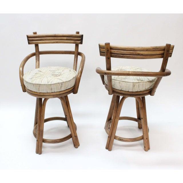 Mid-Century Modern Rattan Bamboo Swivel Bar Stools - Set of 2 - Image 5 of 6