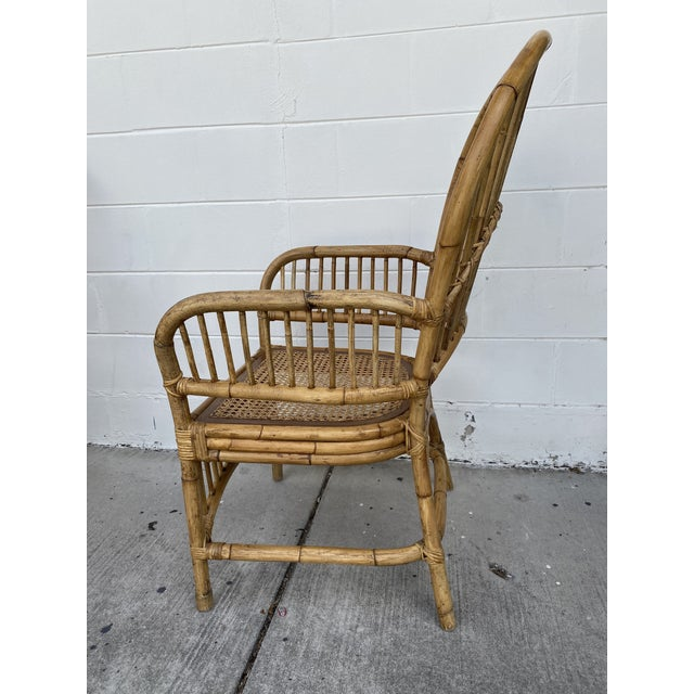 Wood Vintage Rattan Fan Back Chairs- Set of 8 For Sale - Image 7 of 13