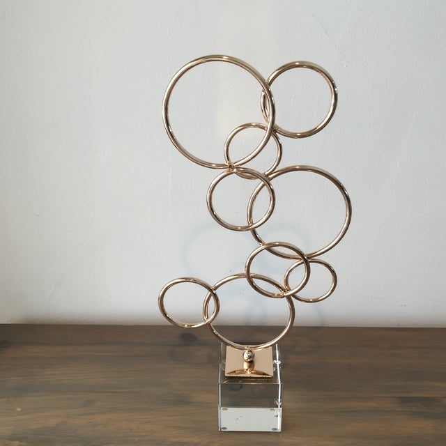 1980s Lucite and Copper Colored Decorative Object Sculpture For Sale - Image 5 of 5