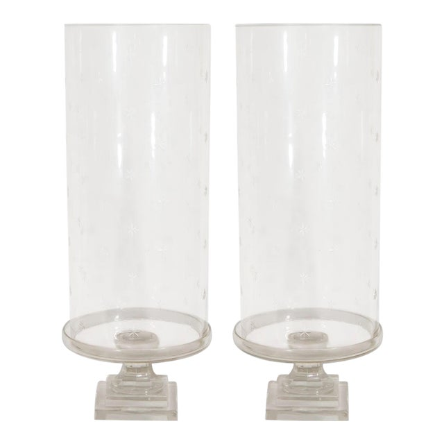 Pair of Tall Glass Hurricanes For Sale