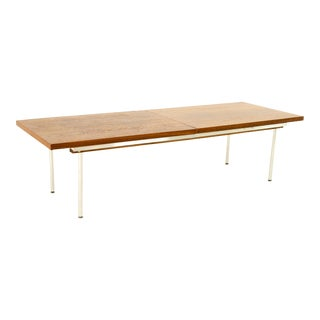 George Nelson Style Mid Century Walnut Laminate and Steel Expanding Coffee Table For Sale